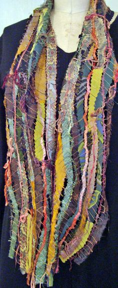 Piece together with interesting threads.....fabric scraps scarf. Would like to try this on non-wearable projects.