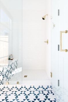 A Love Affair with Geometric + Patterned Tile - The Identité CollectiveThe Identité Collective Bad Inspiration, Bathroom Inspiration, Bathroom Interior Design, Home Interior, Interior Modern, White Bathroom, Small Bathroom, Lake Bathroom, Geometric Tiles