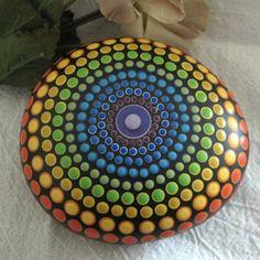 CHAKRA Mandala Stone Hand Painted River Rock ~ Energy ~ Meditation ~ Rainbow Colors ~ Dot Painting by WrenStones on Etsy