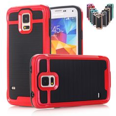 For Galaxy S5 I9600 Luxury Hybrid Armor Brushed Shockproof Case For Samsung Galaxy S3 i9300 S4 I9500 Back Cover Rubber Phone Bag