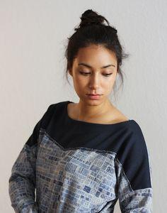 Pulli CAMBRIDGE blau grau Boyfriend-Style  von NNI-fashion auf DaWanda.com