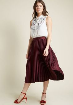 Polished Pleated Midi Skirt in Burgundy - No matter how many textures or patterns you introduce into your look, this pleated midi skirt will pull your outfit together! Part of our ModCloth namesake label, this high-waisted, burgundy hued bottom will make repeat appearances in your organized ensembles.