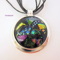 """Event Horizon"" - Large #Handmade #Dichroic Fused #Glass Pendant - by @wvmomma2 of Umeboshi Jewelry Design"