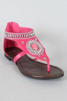 Gemstone Thong Flat Sandal