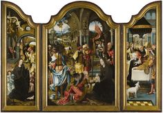 Triptych representing the Adoration of the Magi by Pieter Coecke van Aelst (1502-1550) and workshop. The side panels show the Nativity and the Circumcision. Exhibit of Kunstberatung Zürich at the 2016 edition of the BRAFA Art Fair.