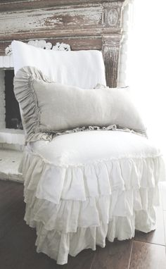 Linen Ruffle Slip Covered Chair Cottage Chic White Linen-     FullBloomCottage ›     Antique Furniture Etsy.com