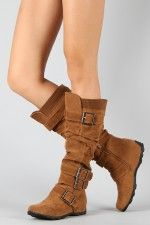 BD-2523 Buckle Sweater Knee High Boot