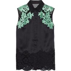 3.1 Phillip Lim Mesh-paneled satin and guipure lace top (3.640.865 IDR) ❤ liked on Polyvore featuring tops, black, shirts, mesh top, satin top, lacy tops, lacy shirts and lace top