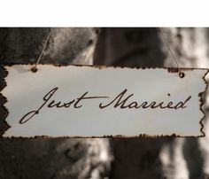 """""""Just Married"""" Birch Wood Sign 10in"""