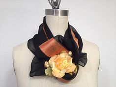 Black And Orange Infinity Scarf Silk Chiffon ScarfCircle