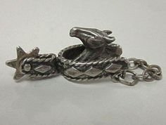 Vintage Sterling Charm Horse Head in Stirrup  by COBAYLEY on Etsy
