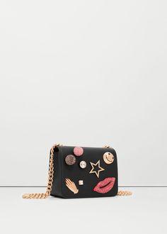 Appliqué cross-body bag - Bags for Woman Fashion Handbags, Purses And Handbags, Fashion Bags, Mango Handbags, Monkey Bag, Bridal Jewellery Inspiration, Mango Bags, Embellished Purses, Boho Bags