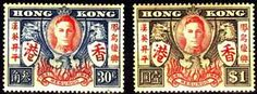 Postage Stamps of Hong Kong 1946 King George VI Victory Set Fine Mint SG 169 170 Scott 174 175 Other Asian and British Commonwealth Stamps HERE!