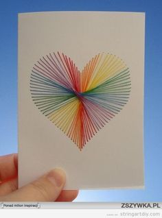 Heart String Art made on Cardboard, Valentines and kids