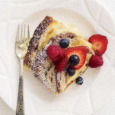 Cinnamon-Raisin Bread Custard with Fresh Berries | Chef Bradley Ogden's 1987 recipe for ultrarich bread pudding is perfect for dessert or brunch.