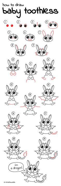 How to draw baby toothless. easy drawing, step by step, perfect for kids Baby Animal Drawings, Cartoon Drawings Of Animals, Animal Sketches, Cute Drawings, Drawing Animals, Hair Drawings, Easy Drawing Steps, How To Draw Steps, How To Draw Kids