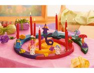 """Very special birthday celebration: If you follow a more waldorf tradition, you tell the birthday story and light each candle as you go through that year. It really is so magical for children to hear the story of their coming into world.  The birthday spiral can be set up for birthday morning on the birthday table."" - Grimm's Classical Birthday Decorations offers a wide range of different Birthday Rings and Ornaments."