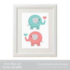 Elephants Wall Art Coral Turquoise Digital by funkymushrooms