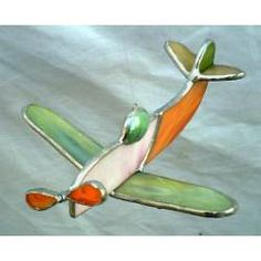Avion Colgante Adorno Movil Vitraux Tiffany - $ 110,00