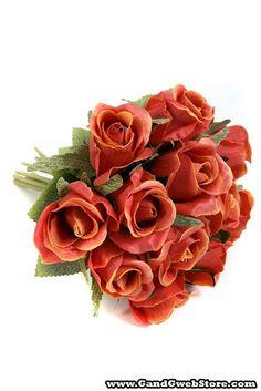 "11"" SATIN ROSE BOUQUET ORANGE - Gandgwebstore.com"