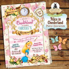 Alice in Onederland Invitation - Alice in Wonderland Invitation - Free Thank You Card - 1st Birthday Invitation - Printable Invitation de LythiumArt en Etsy