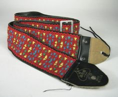 ACE Guitar Strap Multicolor Pattern Metal Hippy Buckle Made USA VTG 1960's  #AceStyle