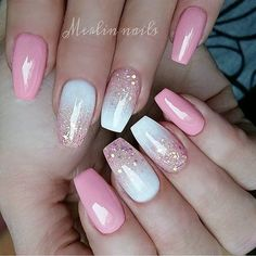 Pretty white glitter effect and pink nails