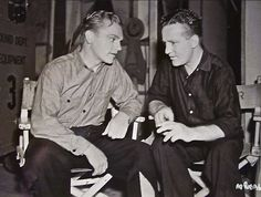 James Cagney on the set of Angels with Dirty Faces with his stand-in, Red Breen