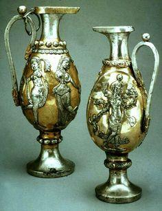 پارچ عهد ساسانیان  Sassanian Silver Gilded Vessels  Depicting Dancer women