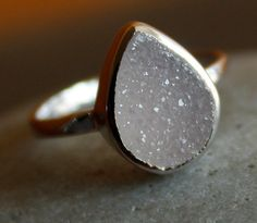Silver White Agate Druzy Ring Teardrop Sterling by OhKuol