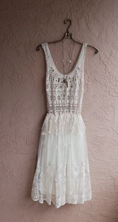 gypsy bohemian beach dress with crochet and lace