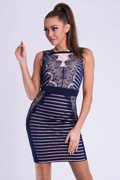 Blue Lace Mesh Stripe Dress - Shop Ladies Bodycon Dresses Online. Dress For Short Women, Short Dresses, Formal Dresses, Women's Dresses, Base Clothing, Beautiful Lingerie, Little Dresses, International Fashion, Blue Lace
