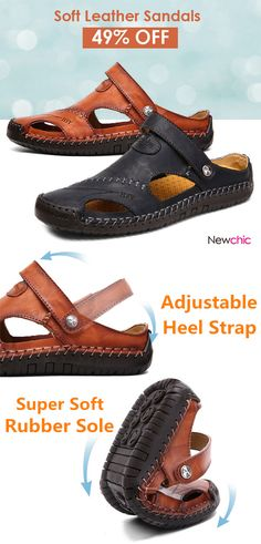 b1f18a01c874  49%off Menico Men Hand Stitching Soft Outdoor Closed Toe Leather Sandals