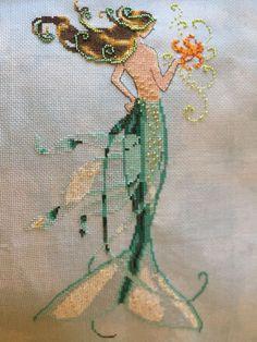 completed finished cross stitch Nora Corbett / Mirabilia mermaid Mai Soli
