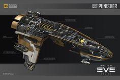 ArtStation - Amarr Punisher, Will Burns Spaceship Design, Spaceship Concept, Concept Ships, Concept Art, Star Wars Spaceships, Sci Fi Spaceships, Eve Online Ships, Star Trek, Space Fighter