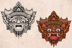 Ad: Bali mask Barong by veter on Hand drawn illustration of ballinesian mask Barong. Perfect for tattoo designs, prints, posters. You will get zip archive including: ● Bali Tattoo, Barong Bali, Hanuman Tattoo, Balinese Tattoo, Asian Tattoos, Art Tattoos, Mask Drawing, Indonesian Art, Batik Art