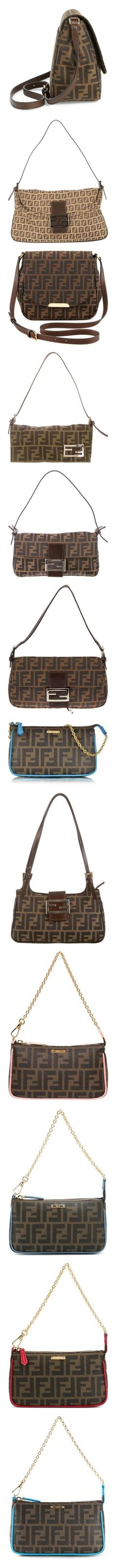 """Logo print bags"" by alenasb ❤ liked on Polyvore featuring bags, handbags, shoulder bags, brown cross body handbags, jacquard handbags, fendi purse, fendi shoulder bag, crossbody shoulder bag, brown and white purse"