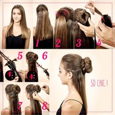 Hairdressing [it] An idea hair chic and easy to achieve with the help of a bun and the twist secret! Babyliss Twist Secret, Messy Bun Hairstyles, Hairdresser, Hair Inspiration, Chic, Hair Styles, Makeup, Beauty, Nice Hairstyles