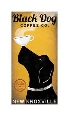 custom BLACK DOG LABRADOR Retriever Coffee Company graphic art giclee print 8x16…
