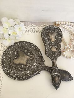 Vintage vanity set antique hand mirror antique hairbrush dressing table set silver plated hand mirror Art Nouveau mirror vintage makeup set by JaggedPearl on Etsy https://www.etsy.com/listing/499321258/vintage-vanity-set-antique-hand-mirror
