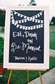 Eat, Drink and Be Married chalkboard wedding sign. Love the string of lights!