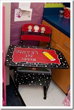 Cute desk for student of the week! Could also just have a special painted chair, depending on furniture of classroom. Classroom Setup, Classroom Design, Classroom Organization, Organization Ideas, Future Classroom, Classroom Management, Old School Desks, Old Desks, School Chairs