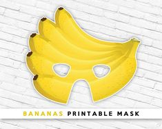 Bananas Printable Party Mask Tropical Fruit Mask - Eye Makeup tips Printable Masks, Party Printables, Free Printable, Banana Mask, Fruit Costumes, Halloween Fruit, The Mask Costume, Fruits For Kids, Raspberries