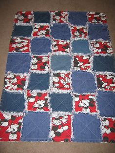 Handmade Micky Mouse rag quilt! Made from recycled jeans and vintage Micky Mouse curtains!