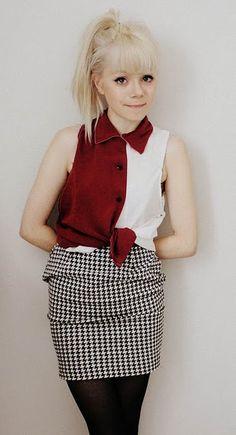 White blonde: pony & full fringe (houndstooth skirt)