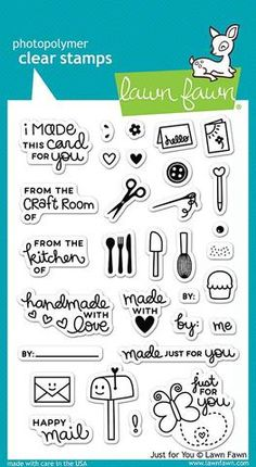 "LAWN FAWN: Just For You (4"" x 6"" Unmounted Clear Acrylic Stamp Set) This set of stamps is perfect for adding a signature touch to your cards, crafts, treats, and other gifts. This Package includes Jus"