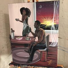 """"""" Artist ~ Brionya James Seeing this shows me a beautiful love where they are each others dawn and dusk. Sexy Black Art, Black Love Art, Black Girl Art, Black Couple Art, Black Love Couples, African American Art, African Art, Black Art Pictures, Art Of Love"""