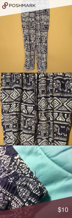Elephant Pants / Joggers / Festival Pants Printed Elephant Pants! Little fraying as shown. Sinched ankles and waist with a waist tie. Size small. Make an offer or bundle for discounts. [the second set of pants are also available and I will make a listing for them if you let me know that you are interested in the comments below! ] Pants Track Pants & Joggers