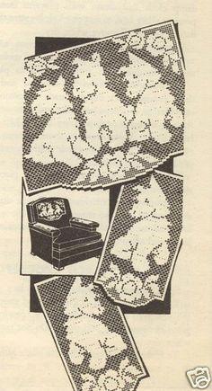 Scotty dogs - Chair Set Pattern in Filet Crochet