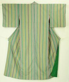 Green and multiple color stripes pattern, komon kimono / 緑と多色の粋な縞柄 化繊小紋 #Kimono #Japan http://global.rakuten.com/en/store/aiyama/